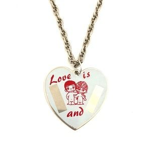 """Jewelry - Vintage """"Love Is"""" Heart Necklace Engravable Couple"""